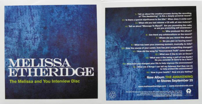 The Melissa Etheridge And You Interview Disc
